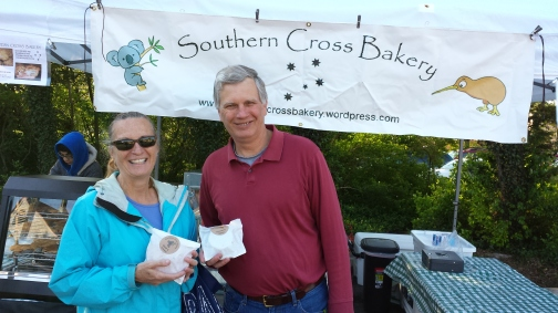 Meg and Chris Harkin became the first customers of Southern Cross Bakery when we opened shop at the Kensington Farmers Market in Maryland, on a cool but sunny Spring Day. We welcome feedback as we develop new product over the coming months.